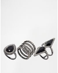 ALDO - Black Mcelmurray Rhinestone Ring Multipack - Lyst