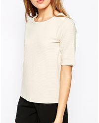 Vero Moda | Natural 3/4 Sleeve Boxy Top | Lyst