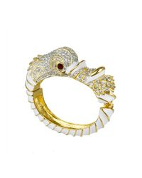 Kenneth Jay Lane | Metallic White And Crystal Dolphin Bracelet | Lyst