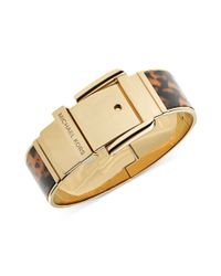 Michael Kors - Brown Goldtone Tortoise Wide Buckle Bangle Bracelet - Lyst