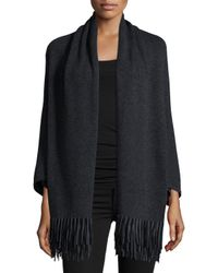 Neiman Marcus - Gray Cashmere Shawl With Suede Fringe Hem - Lyst