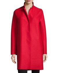 Harris Wharf London | Red Double-face Wool Hidden Placket Coat | Lyst