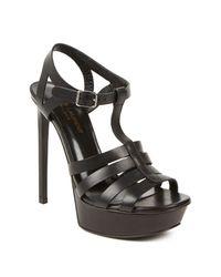 Saint Laurent | Black Bianca Leather Sandals | Lyst
