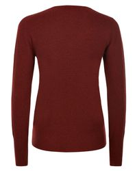 Jaeger - Red Cashmere V-neck Sweater - Lyst