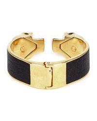 Alexander McQueen | Black Sado Gold Tone Twin Skull Bracelet | Lyst