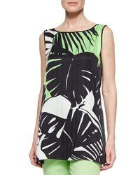 Lafayette 148 New York - Green Merryn Sleeveless Tropical-print Blouse - Lyst