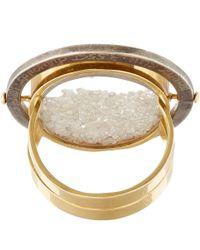 Moritz Glik - Metallic Gold Diamond And White Sapphire Ring - Lyst