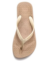 Ipanema - Metallic Wedge Flip Flops - Lyst