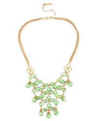 Kenneth Cole | Gold-tone Green Stone Statement Necklace | Lyst