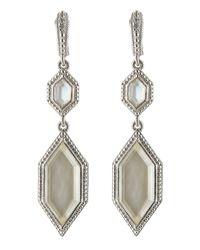 Judith Ripka | Metallic Modern Deco Double Drop Mother-Of-Pearl Doublet Earrings | Lyst