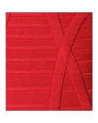 Hervé Léger - Red Stretch Mini Dress - Lyst