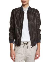 Brunello Cucinelli - Brown Monili-Beaded Leather Varsity Jacket - Lyst