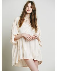 Free People | Natural Womens Yard Dye Stripe Beach Drawstring Tunic | Lyst
