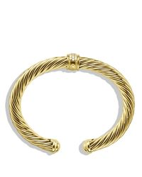 David Yurman - Yellow Cable Classics Bracelet In Gold With Diamonds - Lyst