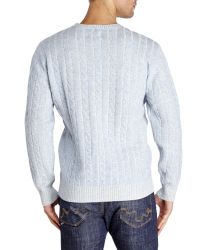 Mine - Blue Plaited Cable Knit Wool Sweater for Men - Lyst