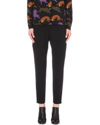 Stella McCartney | Black Cropped Crepe Trousers | Lyst