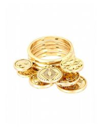 House of Harlow 1960 | Metallic Five Stack Coin Rings | Lyst
