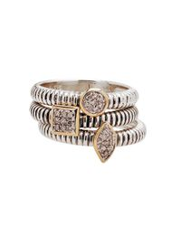 Lord & Taylor | Metallic Stackable Sterling Silver And 14k Yellow Gold Rings With Diamond Pave Center | Lyst
