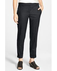 Eileen Fisher | Gray Tapered Stretch Wool Ankle Trousers | Lyst