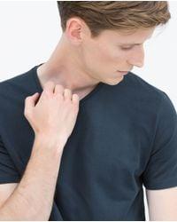 Zara   Blue Superslim T-shirt for Men   Lyst