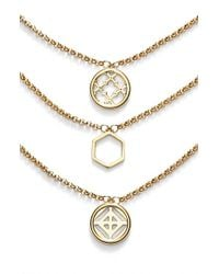 Tory Burch - Metallic Perforated Charm Three-strand Necklace - Lyst