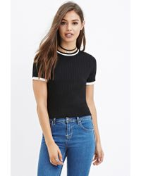 Forever 21 - Black Stripe-trim Ribbed Sweater You've Been Added To The Waitlist - Lyst