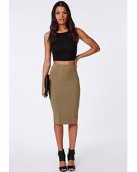 c16a6fa097 Lyst - Missguided Ribbed Bodycon Midi Skirt Khaki in Natural