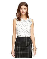 Brooks Brothers | White Silk Polka Dot Blouse | Lyst
