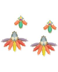 Guess | Multicolor Gold-tone Cluster Earring Set | Lyst