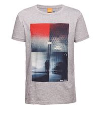 BOSS Orange Gray T-shirt 'thiemon 1' In Cotton for men