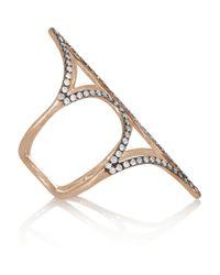 Diane Kordas | Metallic Shield 18karat Rose Gold Diamond Ring | Lyst