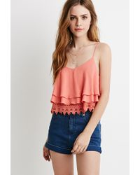 Forever 21 | Pink Layered Crochet Trim Cami | Lyst
