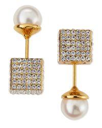 Vita Fede | Metallic Pave Crystal Cube & Pearl Earrings | Lyst