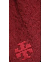 Tory Burch - Red Whipstich Scarf - Lyst