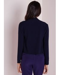 Missguided - Blue Waterfall Blazer Navy - Lyst