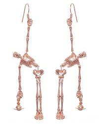 Vivienne Westwood | Skeleton Earrings Pink Gold | Lyst