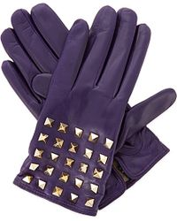 Valentino | Purple Studded Leather Gloves | Lyst