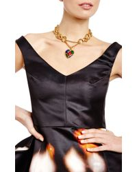House of Lavande | Metallic Domont Yves Saint Laurent Gold Chain Link Necklace with Drop Heart Pendant | Lyst