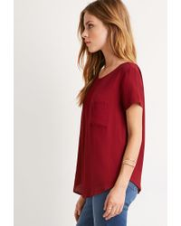 Forever 21 - Purple Classic Pocket Top You've Been Added To The Waitlist - Lyst