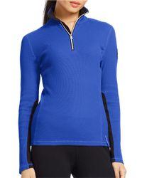 Lauren by Ralph Lauren | Blue Waffle-knit Mockneck Pullover Top | Lyst