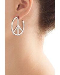 Marc By Marc Jacobs | Metallic Disc-o Peace Out Hoop Earrings - Silver | Lyst