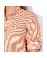 Lauren by Ralph Lauren - Pink Plus Size Rolltabsleeve Striped Linen Shirt - Lyst