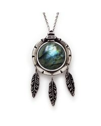 Pamela Love | Blue Dial Pendant With Feathers And Labradorite | Lyst