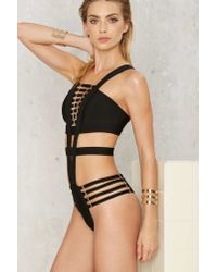 Nasty Gal | Black Trigger Strappy Buckled Swimsuit | Lyst