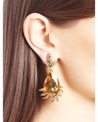 Oscar de la Renta - Metallic Swarovski Crystal Teardrop Earrings - Lyst