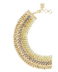 BCBGMAXAZRIA | Metallic Woven-chain Spike Necklace | Lyst