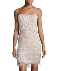 Mandalay - Natural Sequined Fringe Silk Cocktail Dress - Lyst
