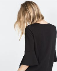 Zara | Black Jacquard Top | Lyst