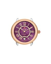 Michele - Serein 16 Two-tone Rose Gold Purple Diamond Dial Watch Head, 34mm - Lyst