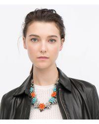 Zara | Metallic Enamel Flower Necklace | Lyst